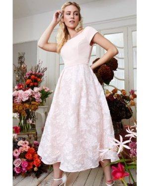 Coast Bardot Neck Embroidered Midi Bridesmaid Dress -, Pink