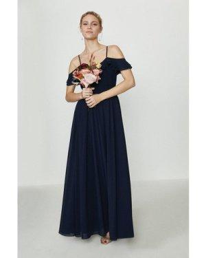 Coast Cold Shoulder Ruffle Maxi Dress -, Navy