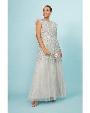 Coast Curve Sequin Angel Sleeve Maxi Dress -, Silver