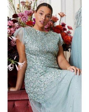 Coast Curve Sequin Angel Sleeve Maxi Dress -, Sage