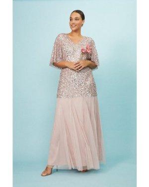 Coast Curve Angel Sleeve Sequin Maxi Dress -, Pink