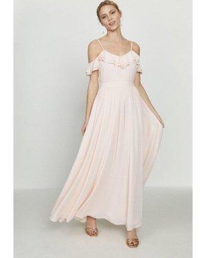 Coast Cold Shoulder Ruffle Maxi Dress -, Pink