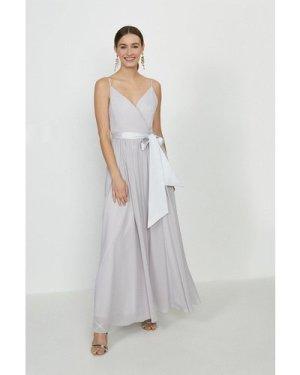 Coast Plunge Neckline Strappy Maxi Dress -, Silver