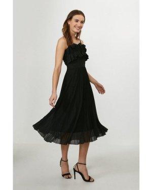 Coast Ruffle Bodice Pleated Dress -, Black