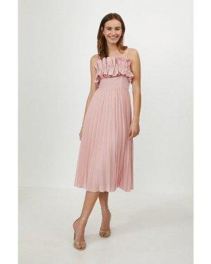 Coast Ruffle Bodice Pleated Dress -, Pink