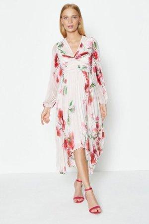 Coast Pleated Hanky Hem Dress -, Pink