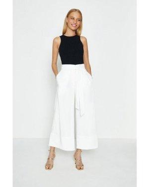 Coast Tie Belt Wide Leg Trousers -, Ivory