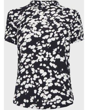 Coast High Neck Abstract Animal Print Top -, Black