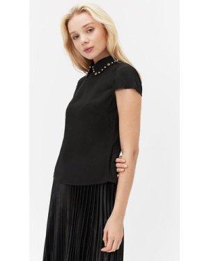 Coast Short Sleeve Jewelled Collar Shell Top -, Black