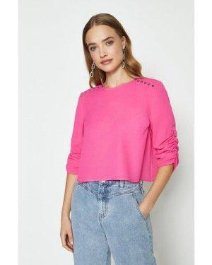 Coast Stud Detail Long Sleeve Top -, Pink
