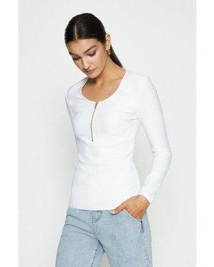 Coast Zip Up Knitted Bandage Rib Long Sleeve Top -, Ivory