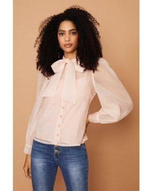 Coast Tie Neck Organza Long Sleeve Top -, Pink