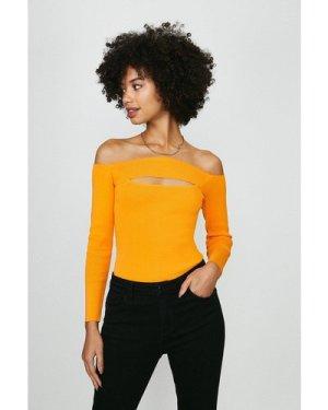 Coast Knitted Rib Bardot Peep Hole Top -, Orange