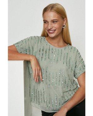 Coast Embellished Sequin T-Shirt -, Sage