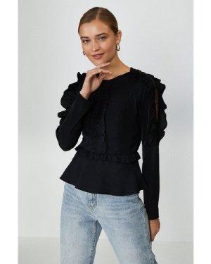 Coast Ruffle Long Sleeve Top -, Black