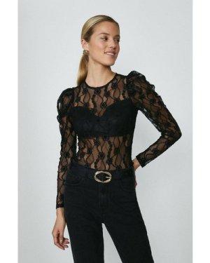 Coast Long Sleeve Lace Bodysuit -, Black