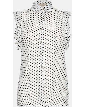 Coast Ruffle Sleeve Polkadot Shirt -, Ivory