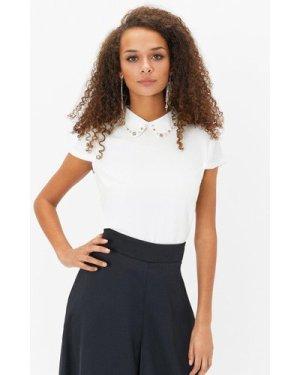 Coast Short Sleeve Jewelled Collar Shell Top -, Ivory