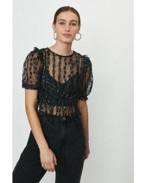 Coast Lace Puff Sleeve Embellished Top -, Black