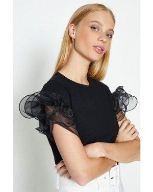 Coast Organza Tiered Sleeve T-Shirt -, Black