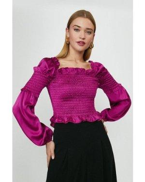Coast Shirred Bodice Balloon Sleeve Top -, Purple