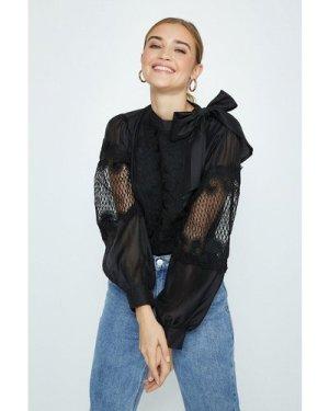 Coast Tie Neck Lace Detail Blouse -, Black