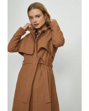 Coast Bellfield Wool Coat With Tie Belt -, Camel