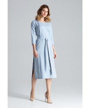 Figl Blue Midi Dress With 3/4 Sleeves