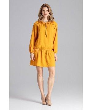Figl Mustard Mini Dress With A Long Raglan Sleeve