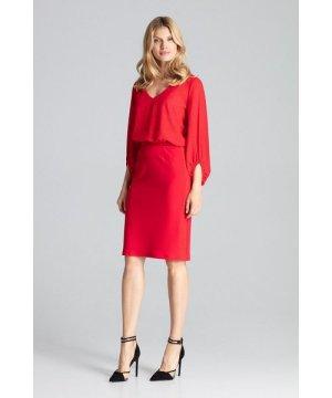 Figl Red Unlined Pencil Classic Midi Skirt