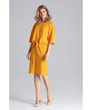 Figl Mustard Midi Dress With A Round Neckline