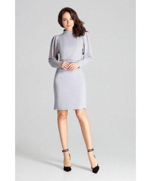 Lenitif Grey Long Sleeve Midi Dress
