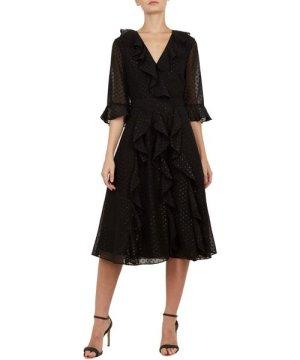 Ted Baker Ardeel V Neck Ruffle Fluted Sleeved Dress, Black