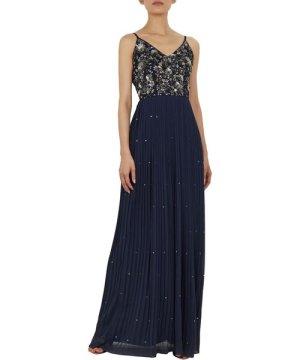 Ted Baker Takkara Strappy Embellished Maxi Dress, Navy