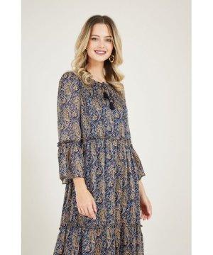 Yumi Navy Paisley Print Smocked Dress