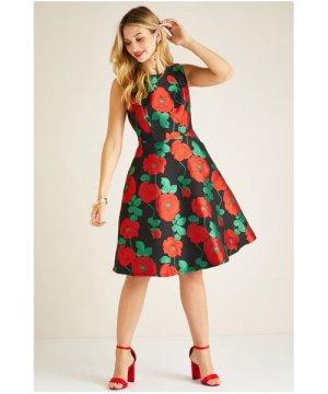 Yumi Multi Jacquard Rose Dress