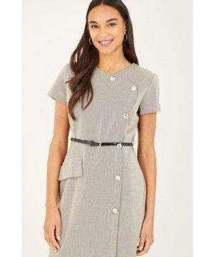 Yumi Khaki Button Detail Fitted Dresss