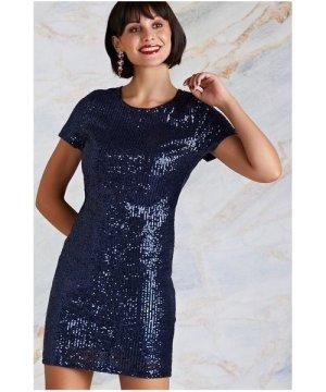Yumi Navy Sequin Party Bodycon Dress