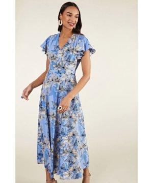 Yumi Butterfly Print Maxi Dress With Side Sli