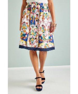 Yumi Mexican Folk Print Skirt