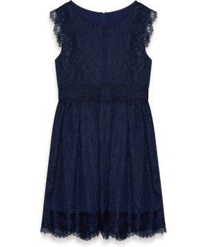 Yumi Metallic Chiffon Dress With Lace Detail
