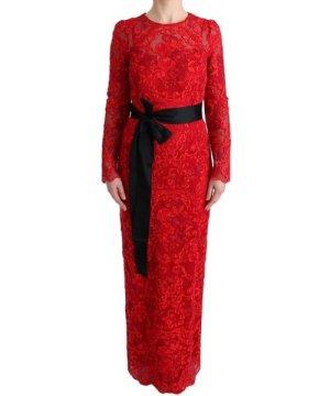 Dolce & Gabbana Red Floral Ricamo Sheath Long Dress