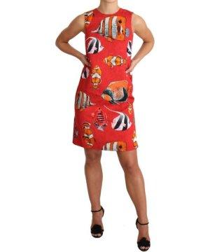 Dolce & Gabbana Red Fish Print Sleeveless Mini Shift Dress