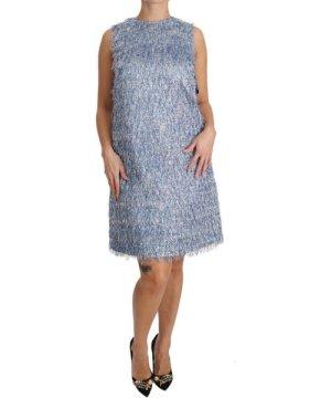 Dolce & Gabbana Light Blue Fringe Shift Gown Dress