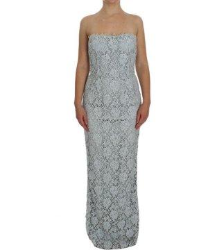 Dolce & Gabbana Blue Floral Lace Sheath Maxi Dress