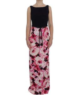 Dolce & Gabbana Pink Floral Print Long Maxi Sheath Dress