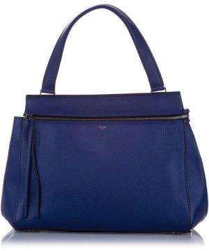 Celine Preowned Vintage Medium Edge Leather Handbag Blue