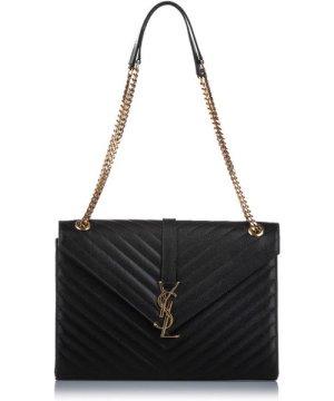 YSL preowned Vintage Monogram Envelope Leather Shoulder Bag Black