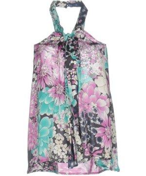 Elisabetta Franchi For Celyn B. Light Grey Floral Print Halterneck Top