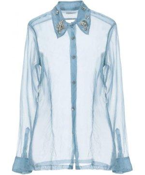 Dries Van Noten Slate Blue Silk Embellished Collar Shirt
